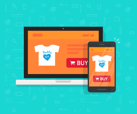 Responsive internet shop design, online store web site page showed on laptop and smartphone, ecommerce shop website on computer and mobile phone, flat cartoon style e-commerce development concept.