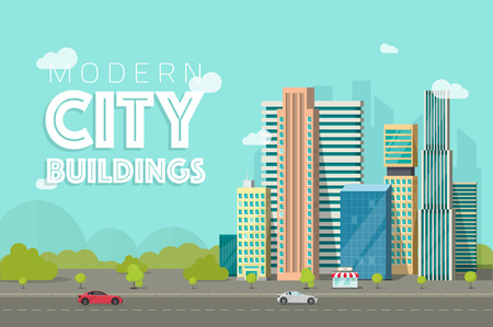 hight tech: Buildings city vector illustration, flat cartoon style modern skyscrapers near forest trees panorama, cityscape architecture, urban street.
