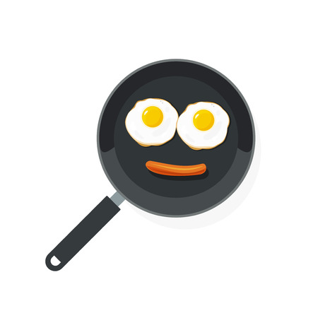 frankfurter: Fried eggs on pan with sausage vector illustration top view, food smile flat style scrambled egg, omelette, cartoon omelet smiling isolated on white
