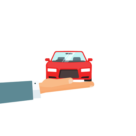 auto service: Hand holding car vector illustration, concept of automobile care, insurance for auto, rental service giving car