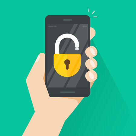 Unlocked smartphone vector illustration with open lock in hand, concept of security, protection technology, and authorization process Illustration