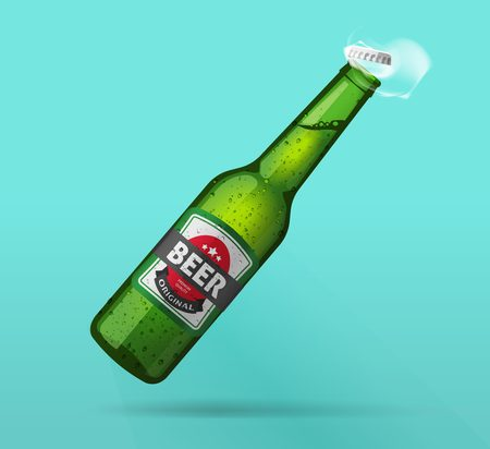 Beer bottle open, green glass bottle opened, bubbles, smoke, cold beer bottle with steam effect, fresh realistic vector illustration design isolated