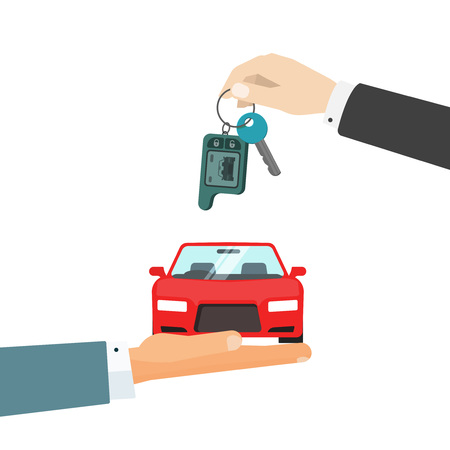 Hands giving car and car keys vector illustration, idea of automobile rent, auto sell flat cartoon style vector illustration