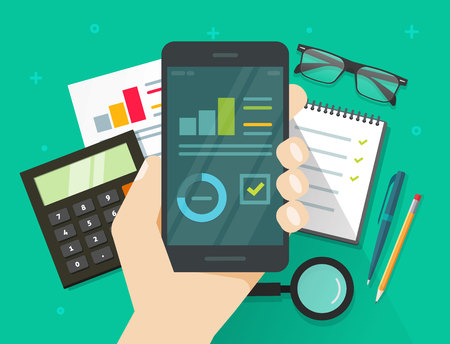 Analytics data results on mobile phone screen vector illustration, flat cartoon style statistics information research on smartphone, cellphone display with growth graph or chart report dashboard
