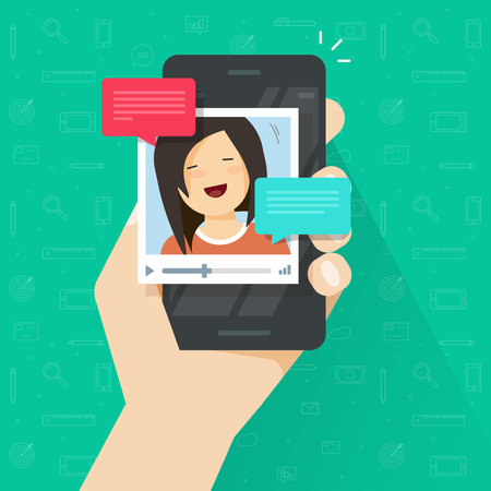 woman cellphone: Online video call on smartphone vector illustration, flat cartoon style mobile phone with video chat technology, people talking online via cellphone Stock Photo