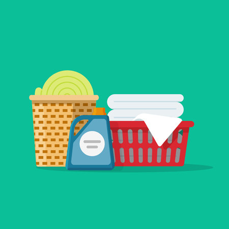 Laundry linen or clothes in baskets vector illustration flat cartoon style, cleaning or washing service concept Illustration