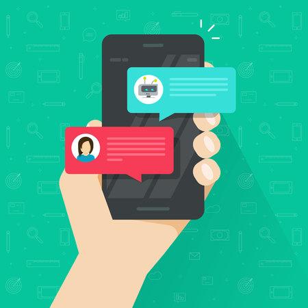 Persona que charla con el chatbot en la ilustración del vector del teléfono móvil, teléfono inteligente plano de la historieta con la discusión del bot de la charla, mensajero del teléfono móvil con el servicio de chatbot, tecnología de la comunicación Ilustración de vector