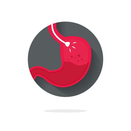Stomach endoscopy vector icon, flat cartoon endoscope in stomach through esophagus, gastroscopy logo symbol idea