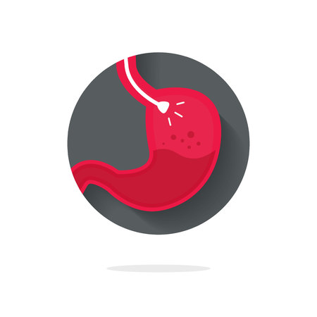 Stomach endoscopy vector icon, flat cartoon endoscope in stomach through esophagus, gastroscopy logo symbol idea