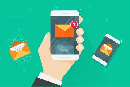 Email notificaciones de teléfono móvil ilustración vectorial, teléfono inteligente de dibujos animados planos con mensajes de correo electrónico de lectura y no leídos, concepto de correo electrónico en móvil