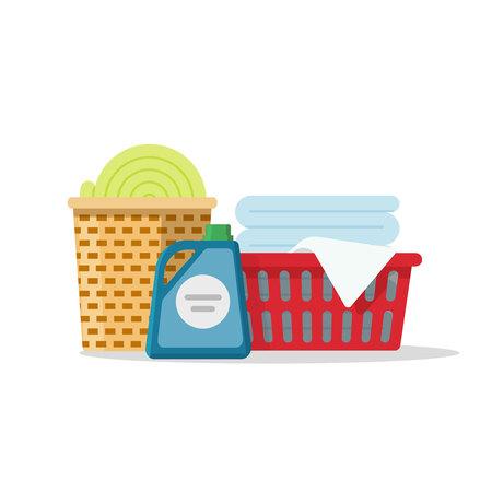 servicio domestico: Lavandería en cestas ilustración vectorial, lino pila de ropa de cartón para lavar, toallas plegadas aisladas sobre fondo blanco Vectores