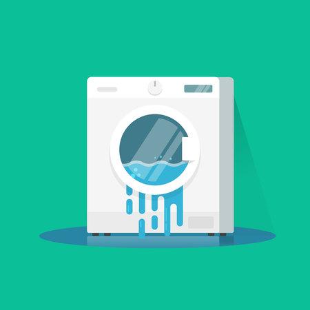 Lavadora de rotura de la ilustración vectorial, dibujos animados plano dañado lavadora con agua que fluye en el piso aislado en fondo de color