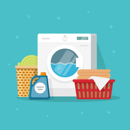 Laundry machine with washing clothing and linen vector illustration, flat carton style washer with baskets of linen and detergent.