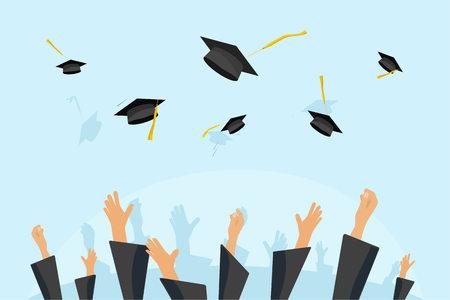 卒業生や生徒手を学問の帽子を飛んで、空気中卒業帽を投げてガウン スカイ フラット漫画ベクター イラスト アート モルタル板を投げる