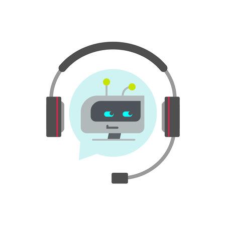 Chatbot support assistent vector icoon, platte cartoon robot of bot gezicht in koptelefoon, concept van automatisch online chat service symbool