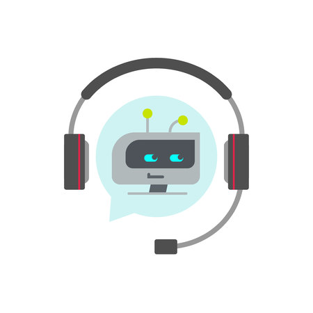 Chatbot support assistant vector icon, flat cartoon robot or bot face in headphones, concept of automatic online chat service symbol Illustration