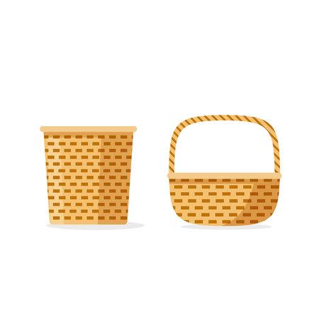 枝編み細工品バスケット ベクトルのアイコンを分離、フラット漫画織り、ストレージまたはピクニックの装飾的なバスケット セット