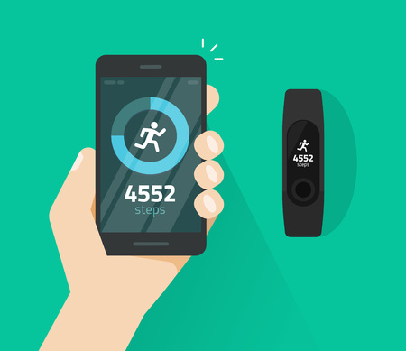 Wrist band bracelet with run activity and fitness tracking app on mobile phone screen vector flat cartoon style, smartphone with run tracker and wristband, walk steps counter sport tech on cellphone Illustration