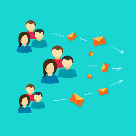 Lots of people or customers contacting via email messages vector illustration flat cartoon style, idea of social group communication, community sending e-mails, discussion