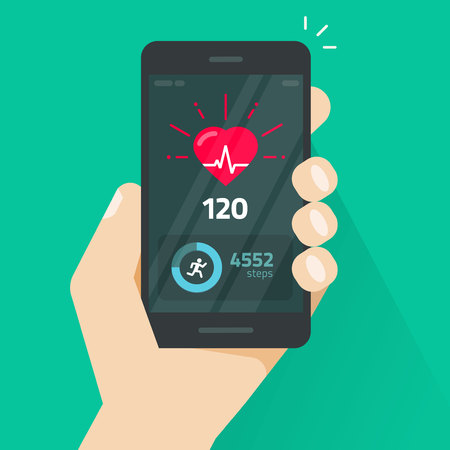 Heartbeat indicator on mobile phone screen, pulse meter with heart beat and running activity information, fitness health app on cellphone and walking steps counter vector illustration Vectores