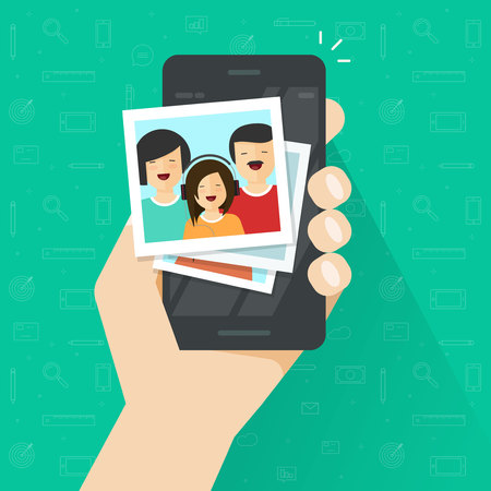 A photo gallery on mobile phone flat cartoon style, photo album on smartphone vector illustration, photography of family on cellphone.