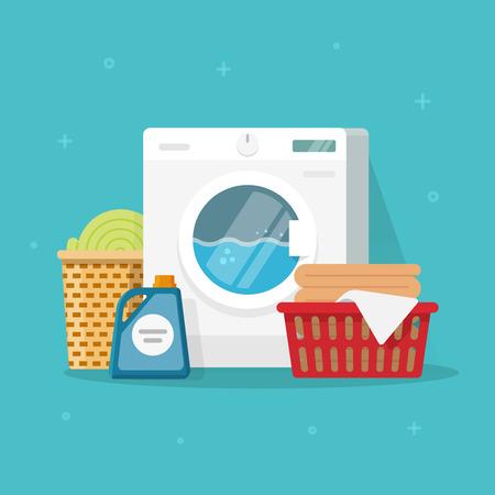 Waschmaschine mit Wäsche waschen und Leinen-Vektor-Illustration, flachen Karton Stil Waschmaschine mit Körben von Bettwäsche und Waschmittel, Konzept der heimischen Hausarbeit clipart Standard-Bild - 80638087