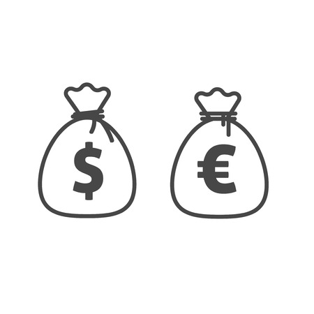 Money bag vector icon line outline style, dollar and euro currency moneybag simple cartoon illustration isolated on white background