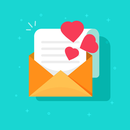 Love confession mail or email vector icon flat cartoon style, open envelope with read paper sheet letter and hearts, idea of romance invitation message, romantic e-mail, greeting gift