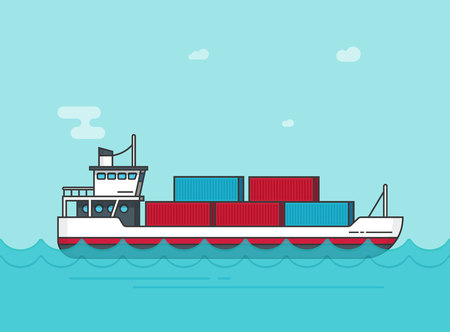 Cargo ship floating on ocean water vector illustration, flat cartoon big shipping freighter boat on sear waves carrying cargo containers line outline style, large vessel