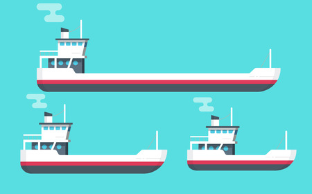 Boats illustration set, flat cartoon small and big transport ships, empty freight vessel and small ferry or fishing boat isolated Çizim