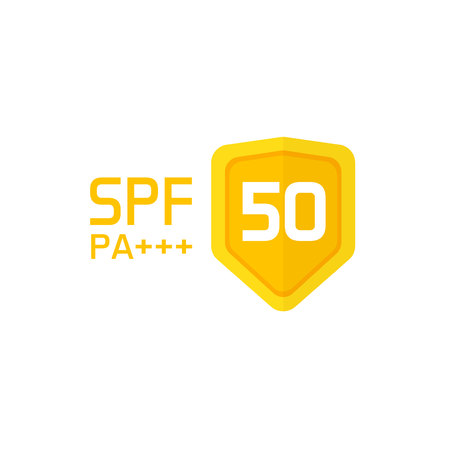 Spf label icon isolated on white background. Ilustrace