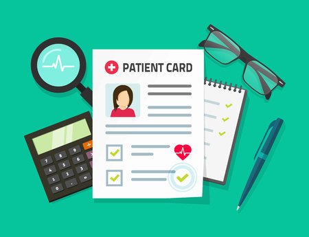 Patient card vector illustration, flat cartoon medical records document with patient data or information on table top view, idea of doctor work desk, diagnosis analyze, investigation, medical research