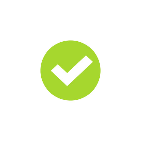 Tick icon in green circle vector symbol, green round checkmark isolated on white background, checked icon or correct choice sign, check mark or checkbox pictogram