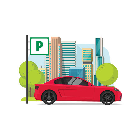 Car parked near city vector illustration, flat cartoon parking lot with road sign, urban scene, automobile in parking area.
