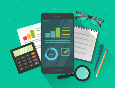 mobile marketing: Analytics data results on mobile phone screen and table vector illustration, flat cartoon statistics information research on smartphone, cellphone display with growth graph or chart report dashboard