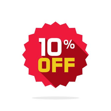 販売タグ ベクトル バッジ テンプレート販売ラベル シンボル、10% オフ 10 割引プロモーション長い影、クリアランス セール ステッカー エンブレム  イラスト・ベクター素材