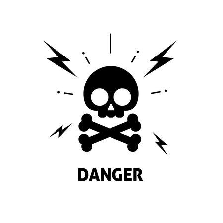 Electrical hazard sign vector illustration, flat cartoon electric shock risk zone symbol, electricity caution sticker, alert sign Stock Photo
