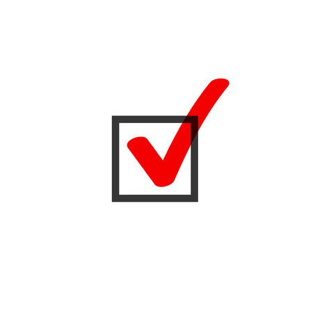 Tick icon vector symbol doodle style, red checkmark isolated on white background, checked icon or correct choice sign in black square, handwritten or drawn check mark or checkbox pictogram