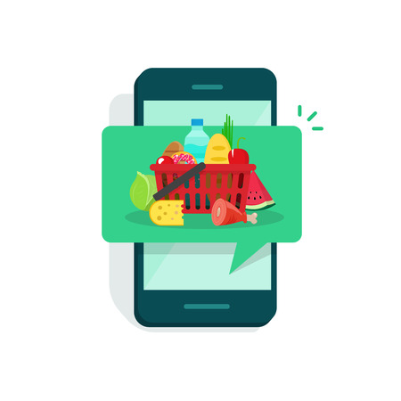Illustration of cartoon concept of food delivery notification in mobile phone. Çizim