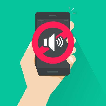 Nessun segnale sonoro per l'illustrazione vettoriale di telefoni cellulari, volume di fumetto piatto spento o segno di modalità muto per smartphone, zona di silenzio del cellulare