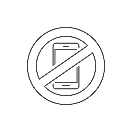 휴대 전화 기호 벡터 일러스트 레이 션, 라인 개요 디자인 핸드폰 영역 기호를 사용 하여 중지, 화이트 절연 스마트 폰 금지 아이콘