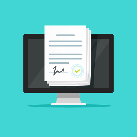 Online electronic documents on laptop vector illustration, flat cartoon style paper document with signature on computer screen, concept of digital or internet office, on-line deal, web paperwork