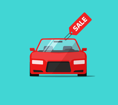Car or auto sale vector illustration, flat cartoon automobile with sale tag, idea of rent or buy service promotion label, concept of dealership banner