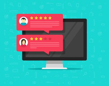 Computer- en klantbeoordelingsbeoordelingsberichten vector, platte cartoon van desktop pc-weergave en online reviews of klantreacties, ervaring of feedback, beoordelingssterren, enquêteopmerkingen