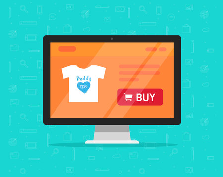 Online store on computer vector illustration, flat cartoon style of desktop pc display with internet shop website product details page and buy button, concept of ecommerce technology