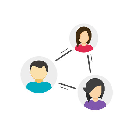 Collaborate or share links between community vector icon, concept of peer or link between social people, persons relation circle, group communication or connection, collaboration network, relationship Illustration
