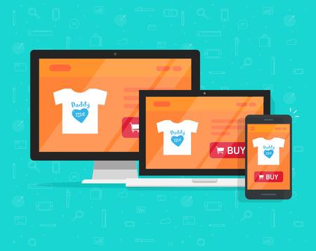 Responsive internet shop design, online store web site page showed on desktop pc, laptop and smartphone, ecommerce shop website on pc and mobile phone, flat cartoon style e-commerce development