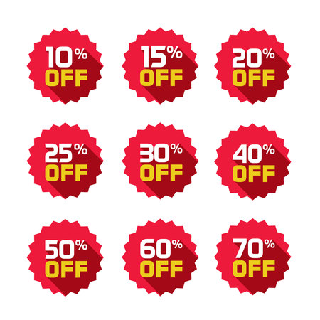 Sale Tag Vector Badge Template  Percent Off Sale Label Symbol