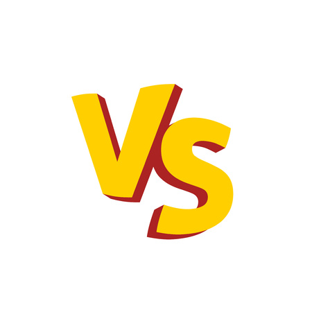 Versus letters or vs logo vector emblem, flat cartoon creative logotype