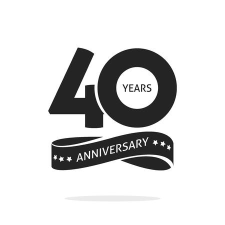 Modelo de logotipo de aniversário 40 anos isolado no selo branco, preto e branco rótulo de ícone 40º aniversário com fita, símbolo do selo de aniversário de 40 anos